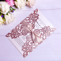 Wholesale wedding invitations resale online - Elegant Rose Gold Glitter Invitations Cards With Ribbons For Wedding Bridal Shower Engagement Birthday Graduation Business Party Invites
