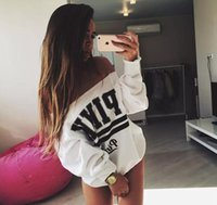 Wholesale White Hoodie Plus Size - Women Fashion Brand Hoodie Pink Letter Print Sweatshirt Knitted Long Sleeve Pullovers Tops plus size S-XL