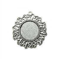 6 Pieces Cabochon Cameo Base Tray Bezel Blank Accessories Parts Sun Cloud Single Side Inner Size 25mm Round Necklace Pendant Setting