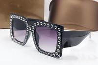 construir lentes venda por atacado-Óculos de Sol de luxo Mulheres Marca 0145S Quadrado Grande Quadro Elegante Designer Especial com Rebites De Diamante Quadro Lente Circular Embutida Com Caso