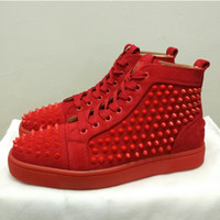 Wholesale Spiked Rivets - DHL France Red Bottoms spikes flats luxury suede designer sneakers men rivets fashion shoes women walking trainers