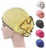 hijab moda de encaje al por mayor-Mujeres musulmanas elásticas de estampado floral sombrero turbante nuevas mujeres de la manera del cordón de la flor sombrero de la gorrita tejida casquillo de la quimiota musulmán bufanda Hijab sombrero del turbante islámico