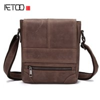 Wholesale Horse Leather Ipad - AETOO Shoulder bag male leather retro crazy horse purse casual oblique header layer of leather ipad messenger bag