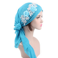 Wholesale stretch headbands - Fashion Chiffon Muslim Women Bandana Stretch Super Soft Scarves Vintage Style Pastoral Style Brand Designer Headband Many Colors bc ZZ