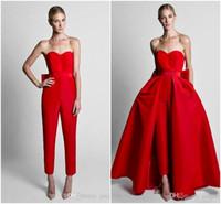 satış elbiseleri tulumlar toptan satış-2019 Krikor Jabotian Kırmızı Tulumlar Örgün Abiye Ile Ayrılabilir Etek Sevgiliye Gelinlik Modelleri Parti Kadınlar için Pantolon Giymek Sıcak Satış