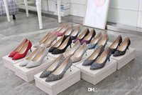 Wholesale leopard printed pointed shoes - 2018 Fashion Ladies Jimm Genuine leather Choo NWB New Leopard print glitter Brown Pointed Womens High Heels Pumps Shoes With Box