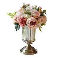 ingrosso vasi vivi-Bouquet di fiori artificiali di trasporto libero Decorazione della casa Evento di nozze e festa Decorazioni di fiori decorativi decorativi