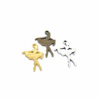 antike silberne ballettcharme großhandel-500 PCS / lot Balletttänzer bezaubert Anhänger, antike silberne Bronze, Gold, 22 * 15 Millimeter, die für DIY Handwerk gut sind