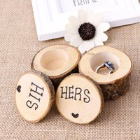 Wholesale wedding ring bearer box - 2pcs set Personalised Hers&His Box Wooden Shabby Chic Rustic Wedding Ring Bearer organizer Wooden Printed Ring Boxes Holder FFA385