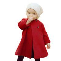 ropa de lana para niñas al por mayor-Niñas abrigos de tenue lindo bebé girs abrigos niños ropa primavera otoño escritor trajes nueva ropa de moda Capa de lana
