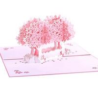 schnallen für einladungen großhandel-Rosa Hochzeits-Einladungen 3D Kirschblüten Baum-Korea-Hochzeitszeremonie-Karten Kundengebundene gefaltete Schnallen-Valentinstag-Karten