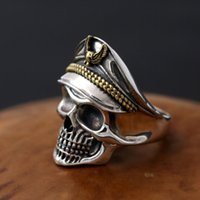 Wholesale Skull Rings 925 Silver - Brand new 925 sterling silver fashion jewelry pirate captain skull with gold and silver two tone plated band ring for gift free shipping