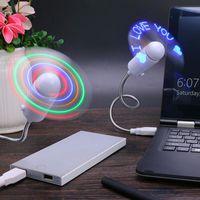 flash levou relógio venda por atacado-Prático usb diy carregamento ventilador palavra flash mini led luz flexível tempo relógio relógio de mesa cool gadget criativo 10 sx bb
