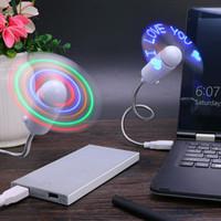 Wholesale cool desktop gadgets for sale - Group buy Practical DIY USB Charging Fan Flash Word Mini LED Light Flexible Time Clock Desktop Clock Cool Gadget Creative sx BB
