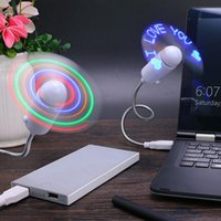 usb geführte uhr kühler ventilator groihandel-Praktische DIY USB Lade Fan Flash Wort Mini LED Licht Flexible Zeit Uhr Desktop Uhr Coole Gadget Kreative 10 sx BB