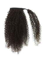 Wholesale tight human hair for sale - Kinky curly Pony Tail Hair piece High Quality Human Ponytail Hair Tight Wrap Around curly Human Hair Ponytail extension