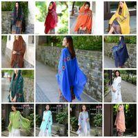 Wholesale india ethnic - Embroidery India Style Scarf TR Cotton Super Soft Sun Visor Wraps Fashion Ethnic Design Travel Beach Sarongs For Women 8 5qj Z