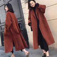 schwarze lange wolle frauen mäntel großhandel-Schwarzer Womens Coat mit Gürtel extra lang Warme Winter-Hipsterjacke Mäntel Damen Oberbekleidung Mantel übergroßen Wollmantel