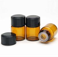 muestras de frascos de perfume gratis al por mayor-1ML Amber Mini Glass Bottle 1CC Amber Sample Vial pequeña botella de aceite esencial de perfume Envío gratis wen7045