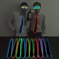 Wholesale Nightclub Decorations - LED Light Necktie Novelty EL Cold Light Line Luminescence Tie Creative Bar Nightclub Atmosphere Props For Men And Women 21yh Y