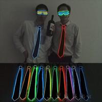 Wholesale christmas neckties for men resale online - LED Light Necktie Novelty EL Cold Light Line Luminescence Tie Creative Bar Nightclub Atmosphere Props For Men And Women yh Y