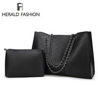 Wholesale big brown designer bags for sale - Group buy Herald Fashion Leather Bags For Women Luxury Handbags New Designer Big Tote Bag Chain Female Shoulder Bag Set Bolsa Feminina