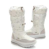 Wholesale ladies knee high snow boots - Size 35-43 Fashion Women Boots Plush Warm Snow Boots Ladies Winter Ankle Waterproof Zipper White Colour Snow Flower Botas
