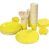 ingrosso festa di cannella gialla-Promozione giallo bianco Polka Dots da tavola Partito piatto di carta tazze tovaglioli di carta paglia, senza posate set coltelli forchette cucchiai