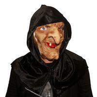 pelo viejo al por mayor-Creepy Scary Halloween Old Witch Mask Látex Snow White Witch With Hair Hood