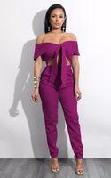 Wholesale women wearing jumpsuits for sale - Jumpsuit women Rompers Summer Slash Neck off shoulder Long Overalls Office Lady Wear Pencil Pants Tracksuits