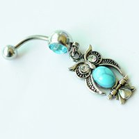 Wholesale wholesale jewelry items - D0696 ( 1 color ) Owl Item Aqua. color Navel Belly Button Ring piercing body jewlery 1.6*11*5 8 belly ring Body Jewelry