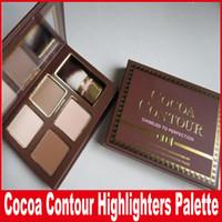 contours de la palette achat en gros de-Contour de cacao en face ciselé à la perfection Surligneurs Kit de mise en relief et de mise en valeur du visage, couleur 4 avec pinceau