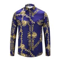 patrón de vestido azul marino al por mayor-3D Azul marino Patrón dorado Hombres Hip Hop moda homme Nuevo Camisas de ocio formales Camisa de vestir de manga larga Masculina boutique FS079A