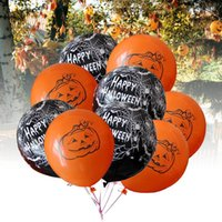 ingrosso zuppi puntelli-12 pollici Halloween Latex Ball Spider Zucca Nero arancione ballons Decorazione del partito Club Bar Puntelli Regali forniture di Halloween 100 pz / lotto FFA717