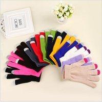 yetişkin kış eldivenleri toptan satış-Sihirli Dokunmatik Ekran Eldiven Örme Manifatura Streç Yetişkin Bir Boyut Kış Isıtıcı Tam Parmak Dokunmatik Eldiven Xmas Hediyeler Ücretsiz Kargo