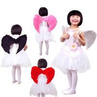 kinder kostümiert federn großhandel-45 * 35 CM Engelsflügel Flügel Kostüm Party Cosplay Schmetterling Stil Weihnachten für Kinder (5-8 Jahre Alt) 4 Farbe Wählen
