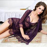kadınlar için uyku tulumu bedava nakliye toptan satış-2018 Yeni Kadın Gecelik Sexy Lingerie Dantel elbise V Yaka Kadın Seksi Gecelik Pijama Chemise Sexy Lingerie Ücretsiz Kargo