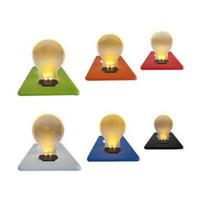 yılbaşı tema kartları toptan satış-Kare Katlanabilir Cep Kart Lambası Flaş İnce Mini LED Kartları Işık Zarif Ampul Şekli Noel Tema Işıkları Karanlıkta Glow 1 6jt ZZ