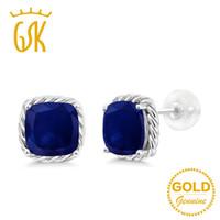 pendientes de zafiro azul oro al por mayor-GemStoneKing 4.00 Ct Cushion 7mm Natural Blue Sapphire Earrings 10K Oro Blanco Compromiso Stud Pendientes para mujer