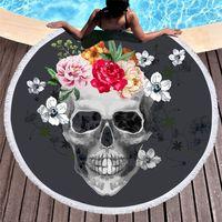 siyah şeker toptan satış-1 Adet Şeker Kafatası Yuvarlak Plaj Havlusu Çiçek Püskül Goblen Siyah ve Beyaz Çiçek Yoga Mat Şık Toalla Battaniye 150 cm