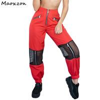 ingrosso pantaloni neri sciolti neri-Maoxzon Womens Fashion Mesh Patchwork pantaloni Harem per la femmina 2018 New Hot Black Sexy pantaloni lunghi sciolti Harlan Drop Ship