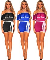 Wholesale sexy party bodysuits - New Sexy Summer Ruffle Neck Bodysuits Sleeveless Halter Neck Women Curve Night Club Bodysuits Party Jumpsuits