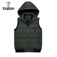 nuevas chaquetas sin mangas para hombre al por mayor-Men Fashion Brand Men Hooded Chaleco New 2018 Winter Men's Chaqueta sin mangas Army Solid color Chaleco Moda Casual Abrigos Hombres