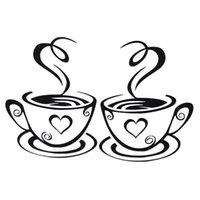 ingrosso disegni di vinile-1 pezzo Beautiful Design tazze di caffè Cafe Wall Stickers Art Decalcomania in vinile Cucina Ristorante Pub Decor