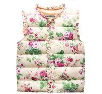 çiçek yelek yelek toptan satış-Çocuk Yastıklı Yelek Sıcak Satış Çocuklar Sonbahar Bahar Kış Bebek Kız Yelekler jile Çiçek Baskılı Kapşonlu Kabanlar olmadan weskit