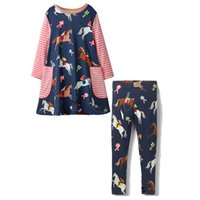 Wholesale Kids Costume Patterns - New Summer Dresses for Girls Clothing Sets Party Costumes for Kids Pattern Animals Appliqued Baby Girl Clothes Dresses + Baby Leggings