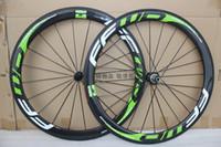Wholesale Carbon Fibre Bike Wheels - free shipping !!1 full carbon bike wheels 50mm 700C carbon wheelsets white green decal carbon wheel Powerway R36 hubs