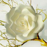 grande decoração de flores de papel venda por atacado-Casamento Artificial Rose Grande Flor De Espuma De Casamento Decoração de Parede de Fundo de Estágio Decoração de Papel Em Casa Decoração Do Partido Diâmetro 15 25 32 cm