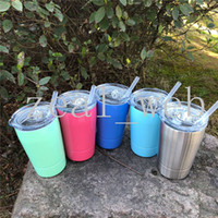 Wholesale pink wine glasses - 2018 new 12oz wine glasses stemless Toddler tumblers stainless steel Vacuum Insulated mug slid lid clear straw