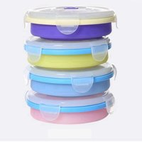 Wholesale collapsible storage containers - Round Silicone Foldable Lunch Box Portable Collapsible Crisper Camping Outdoor Bowls with Lids Food Storage Container AAA49